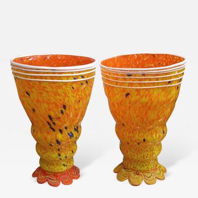 Barovier Toso Barovier Toso 1990s Modern Yellow Orange Murano Glass Luminous Lamps