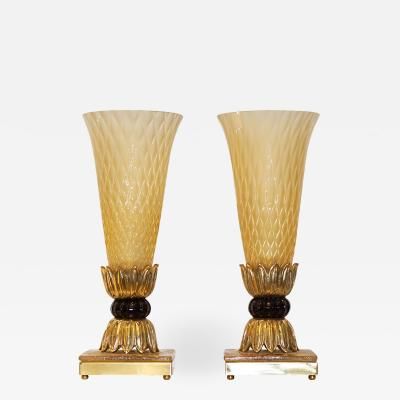 Barovier Toso Barovier Toso Art Deco Style Pair of Brass and Gold Honeycomb Murano Glass Lamps