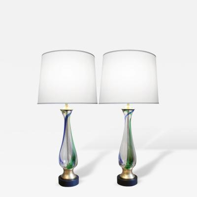 Barovier Toso Barovier Toso Attributed Pair of Hand Blown Table Lamps 1950s