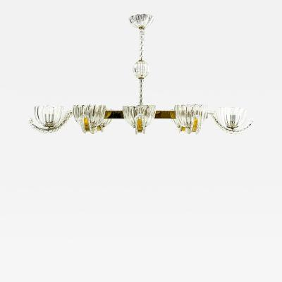 Barovier Toso Barovier Toso Eight ArmChandelier in Brass and Crystal