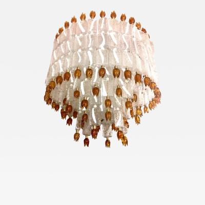 Barovier Toso Barovier Toso Murano Glass Blocks with Gold Rosettes Chandelier 1940