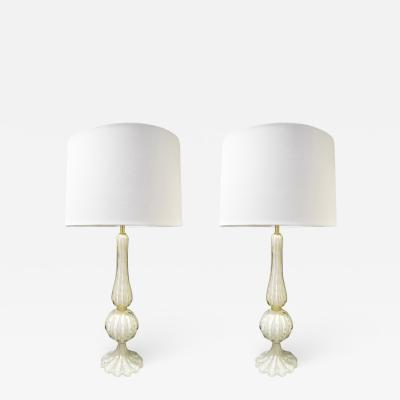 Barovier Toso Barovier Toso Pair Of Elegant Handblown Glass Table Lamps 1950s