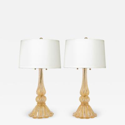 Barovier Toso Barovier Toso Pair Of Hand Blown Glass Table Lamps With Gold Inclusions 1950s