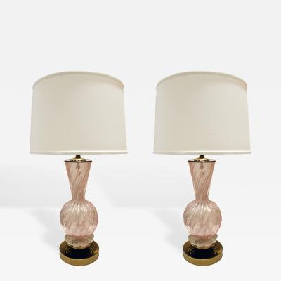 Barovier Toso Barovier Toso Pair of Pink Glass Table Lamps With Brass Bases 1950s