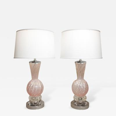 Barovier Toso Barovier Toso Pair of Pink Glass Table Lamps With Nickel Bases 1950s