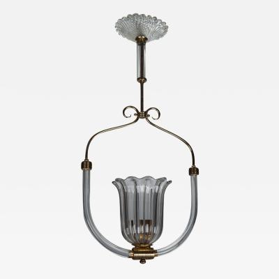 Barovier Toso Barovier and Toso Art Deco Era Glass and Brass Pendant Fixture