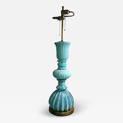 Barovier Toso Beautiful Barovier Sky Blue Murano Glass Table Lamp Circa 1960
