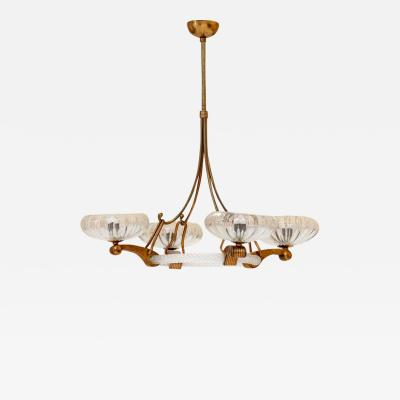 Barovier Toso Brass and Murano Glass Chandelier Attributed to Barovier