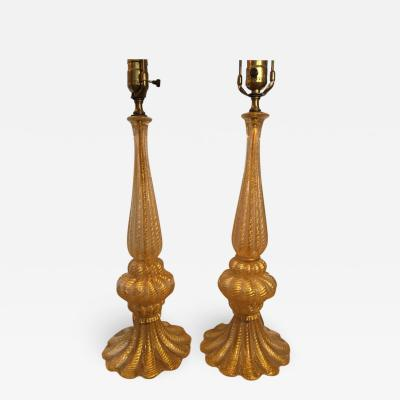 Barovier Toso EXCEPTIONAL PAIR OF GOLD MURANO LAMPS BY BAROVIER
