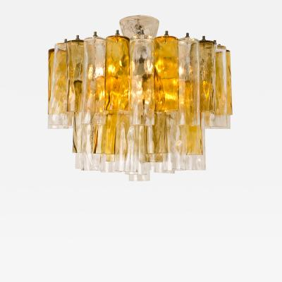 Barovier Toso Extra Large Chandelier by Barovier Toso Ocher and Clear Glass Tubes