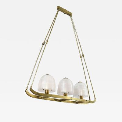 Barovier Toso Gilt brass and glass navette chandelier by Barovier for Murano 1940