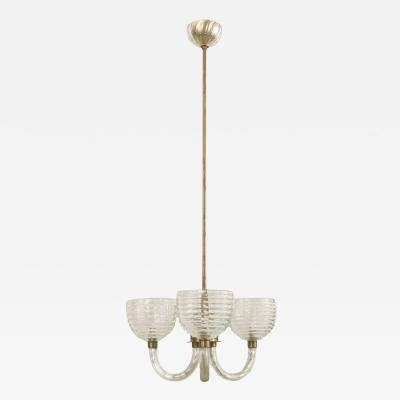 Barovier Toso Italian 1930s Clear Fluted Glass 3 Arm Chandelier