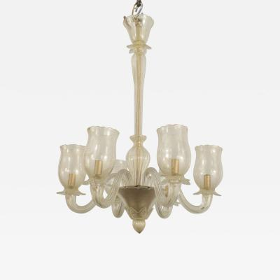 Barovier Toso Italian Murano 1940s Gold Dusted Chandelier