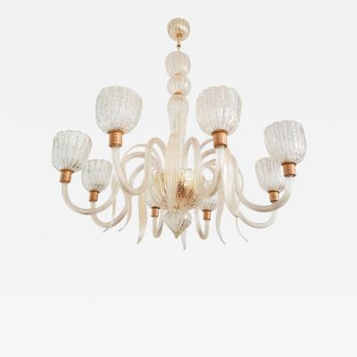 Barovier Toso Large Eight Lights Murano Glass Chandelier 1970s Barovier E Toso