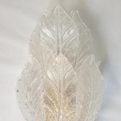 Barovier Toso Large Mid Century Classical Leaf Murano Glass Sconces Barovier style Italy 70s
