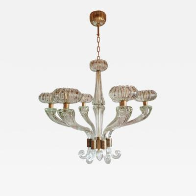 Barovier Toso Large Mid Century Modern clear Murano glass chandelier Barovier style 1960s