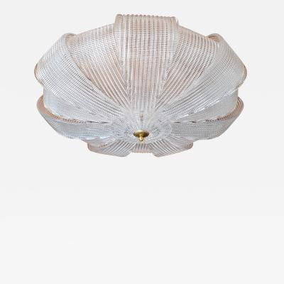 Barovier Toso Large Mid Century Murano clear glass flush mount lights Barovier style 1970s