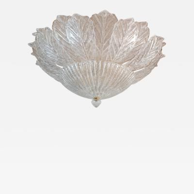 Barovier Toso Large Neoclassical style Leaf Murano flush mount Mid Century Italy 70s