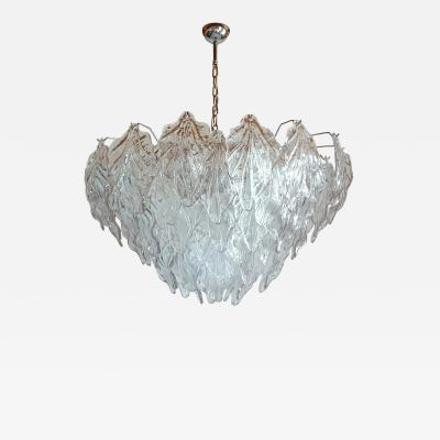 Barovier Toso Large clear Murano glass leaves Mid Century Modern chandelier Barovier style