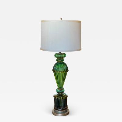 Barovier Toso Mid Century Green Murano Venetian Art Glass Table Lamp