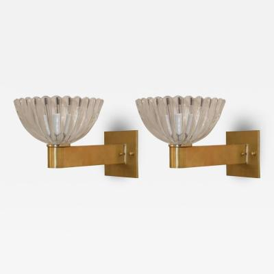 Barovier Toso Murano Clear Glass and Brass Sconces