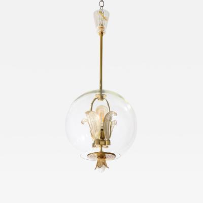 Barovier Toso Murano Glass Pendant Globe