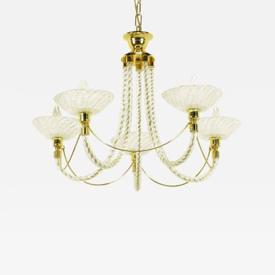 Barovier Toso Murano Rope Glass and Brass Five Arm Chandelier in the Manner of Barovier