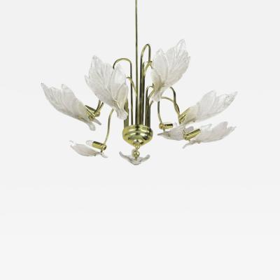 Barovier Toso Nine Arm Murano Glass Leaf Chandelier in the Style of Barovier Toso