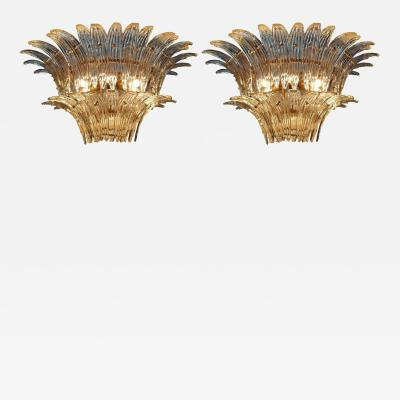 Barovier Toso Original Pair of the Famous Chandelier Palmette by Barovier Toso 1960