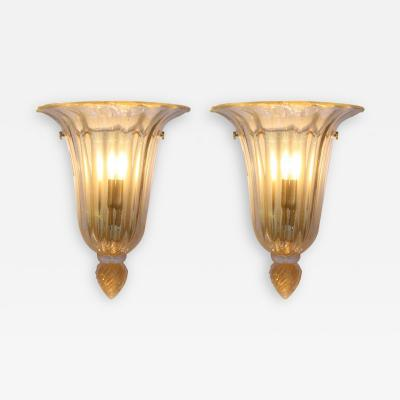 Barovier Toso PAIR OF MID CENTURY GOLD AND CLEAR GLASS WALL LIGHTS BY BAROVIER E TOSO