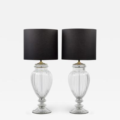 Barovier Toso PAIR OF MONUMENTAL MURANO LAMPS MANNER OF BAROVIER TOSO