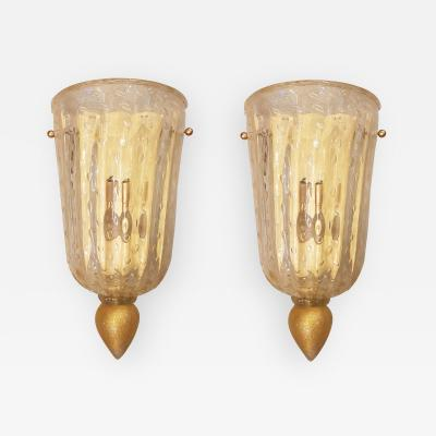 Barovier Toso Pair Mid Century Modern Clear Gold Murano Glass Sconces Barovier Style