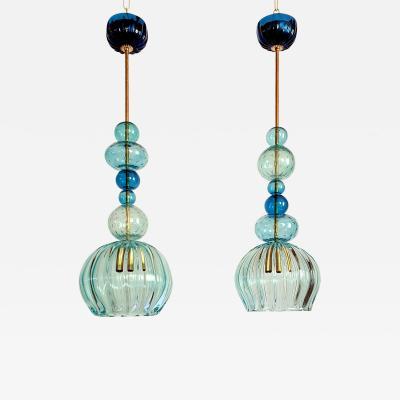 Barovier Toso Pair Murano blue glass chandeliers Mid Century Modern Barovier style Italy 1960s