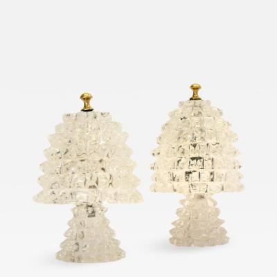 Barovier Toso Pair of 1940s Crystal Lamps