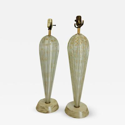Barovier Toso Pair of Barovier Beige with Gold Bubbles