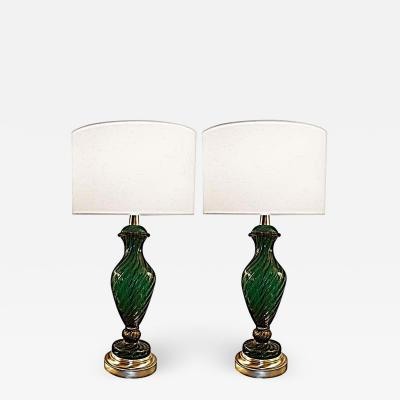 Barovier Toso Pair of Barovier Green and Gold Glass Lamps