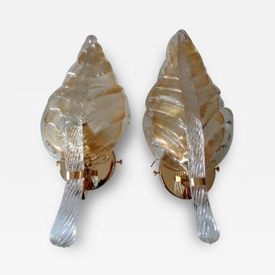 Barovier Toso Pair of Barovier Murano Rugiadoso Leaf Wall Sconces
