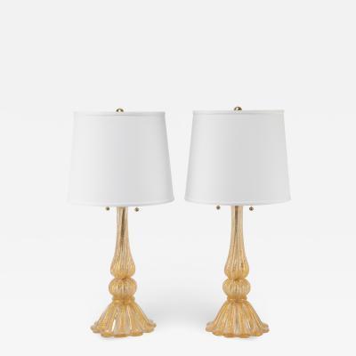 Barovier Toso Pair of Barovier Toso Cordonato dOro Murano Table Lamps circa 1950s