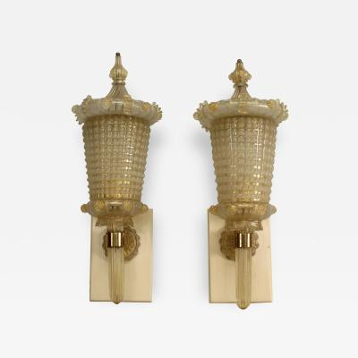 Barovier Toso Pair of Italian 1940s Venetian Murano Gold Glass Wall Lanterns
