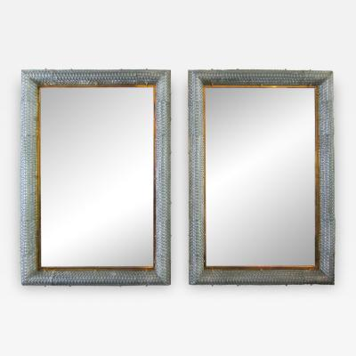 Barovier Toso Pair of Italian Modern Handblown Glass Bronze Illuminated Mirrors