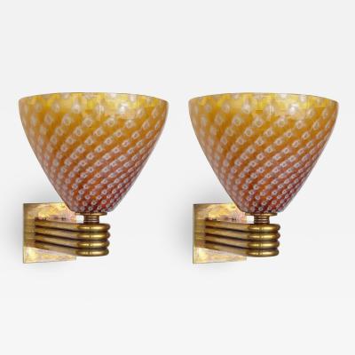 Barovier Toso Pair of Italian Murano Glass Sconces w Original Mark By Barovier e Toso