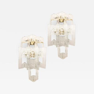 Barovier Toso Pair of Large Barovier and Toso Glass Sconces Italy 1960s
