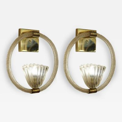 Barovier Toso Pair of Large Barovier e Toso Sconces Italy 1950s