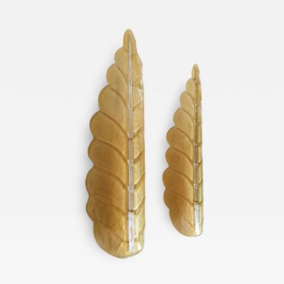 Barovier Toso Pair of Large leaf Murano glass Mid Century Modern sconces by Barovier 1970s