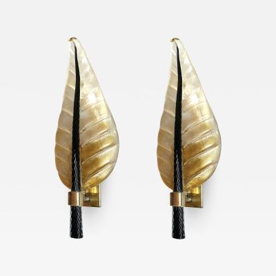 Barovier Toso Pair of Mid Century Modern leaf Murano glass sconces by Barovier Toso 1970s