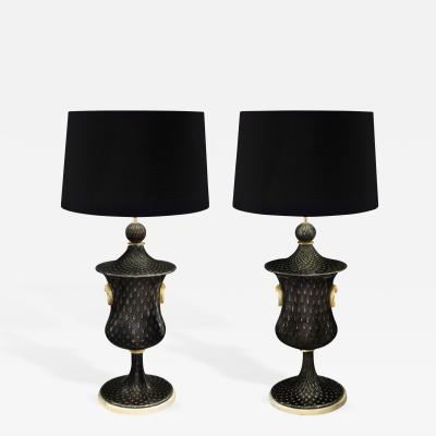 Barovier Toso Pair of Monumental and Important Glass Table Lamps by Barovier Toso