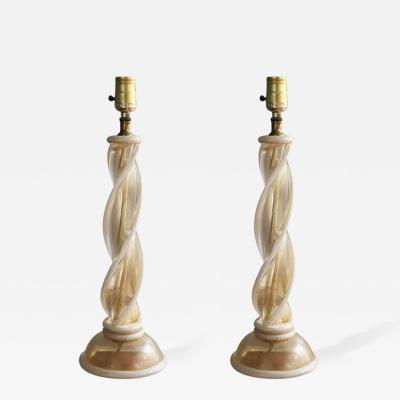 Barovier Toso Pair of Murano Glass Twist Table Lamps Attributed to Barovier Toso