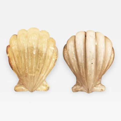 Barovier Toso Pair of Murano Shell Door Handles by Barovier and Toso