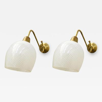 Barovier Toso Pair of Original Vintage Italian Sconces w Clear White Murano Glasses c1960s
