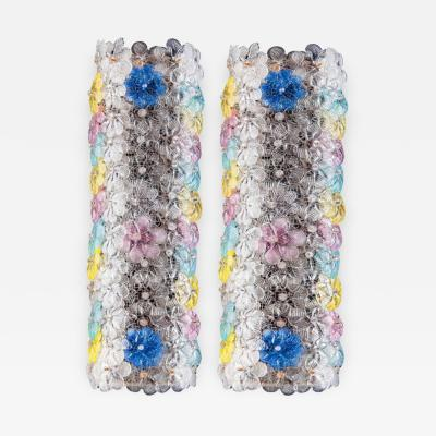 Barovier Toso Pair of Venetian Flowers Murano Glass Sconces 1950s by Barovier Toso
